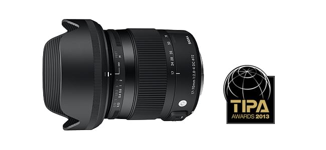 SIGMA 17-70mm F2.8-4 DC MACRO OS HSM reçoit le prix TIPA 2013 BEST ENTRY LEVEL DSLR LENS Award.